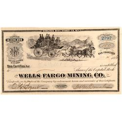 Wells Fargo Mining Co. Stock Certificate #110847