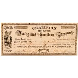 Champion Consolidated Mining & Smelting Co. Stock Certificate  #91856