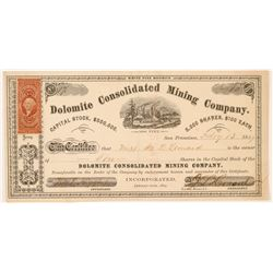 Dolomite Consolidated Mining Company Stock Certificate  #107033