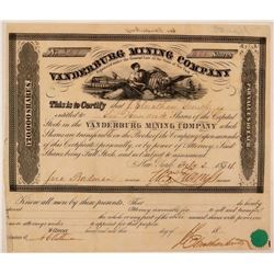 Vanderburg Mining Company Stock Certificate  #107708