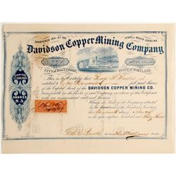 Davidson Copper Mining Company, City of Baltimore, State of Maryland Stock  #81903