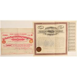 Two Baker area Gold Mining Company Bonds and Large Stock  #91973