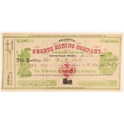 Tellurium Quartz Mining Company Stock  #91978