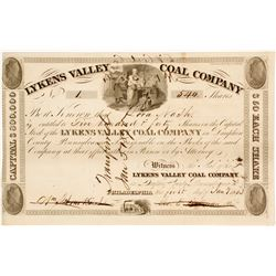 1833 Version of Lykens Valley Coal Company Stock:  Very old and NUMBER 1  #81678