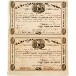 Two Lykens Valley Coal Company Stock - 1837!  #81958