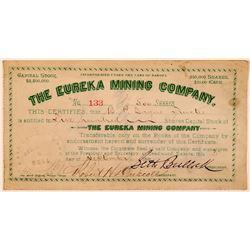 Eureka Mining Company Stock Certificate Signed by Sheriff Seth Bullock  #107705