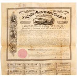 1858 Nashville & Rowena Coal Company Bond  #81956