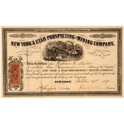 New York & Utah Prospecting Mining Co. Stock Certificate  #107749