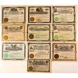 Ten Different Washington Mining Stock Certificates  #107631