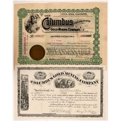Columbus Black Hills South Dakota Stock Certs. (2)  #106028