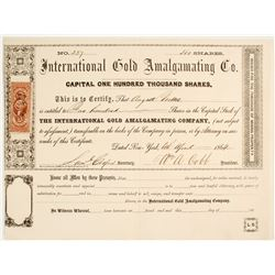 International Gold Amalgamating Company Stock  #80476