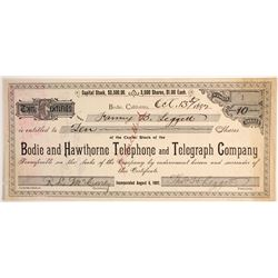 Bodie & Hawthorne Telephone & Telegraph Company Stock  #79760