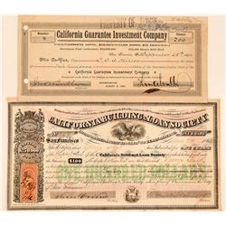 Two California Investment Company Stock Certificates  #100757