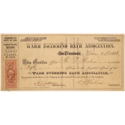 Warm Swimming Bath Association Stock Certificate  #103442