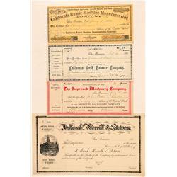 Four California Non-Mining Stock Certificates  #100823