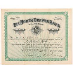 North Denver Bank Stock Certificate  #107185