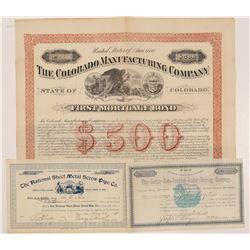 Colorado Manufacturing Stocks & One Bond  #104425