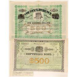 Two Lawrence County, Dakota Territory Bonds  #100810
