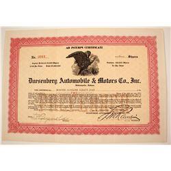 Dusenberg Automobile & Motors Stock  #79919
