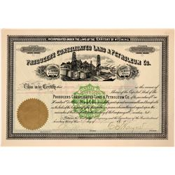 Producers Consolidated Land & Petroleum Co. Stock, Wyoming, 1889  #110333