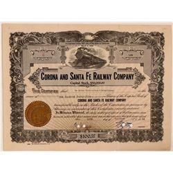 Corona & Santa Fe Railway Company Stock Certificate  #107657