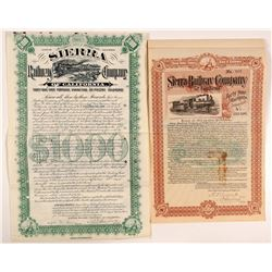 Sierra Railway Company Bonds (2)  #106654