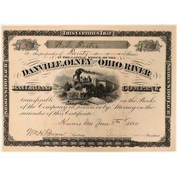 Danville, Olney and Ohio River Railroad Company Stock Certificate, 1880  #110316