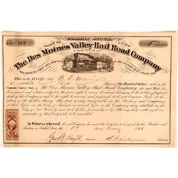 The Des Moines Valley Rail Road Company Stock Certificate, 1866  #110307