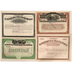 Nice Group of Four Different Detroit Railroad Stocks  #110313