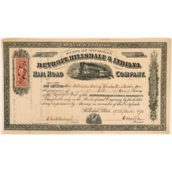 Detroit, Hillsdale & Indiana Railroad Company Stock Certificate, 1870  #110315