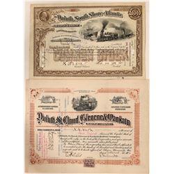 Two Duluth, Minnesota Railroad Stocks  #110312