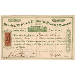 Dunkirk, Warren & Pittsburgh Railroad Company Stock, 1868  #110310