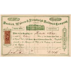 Dunkirk, Warren & Pittsburgh Railroad Company Stock, 1868  #110310