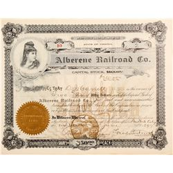 Alberene Railroad Company Stock  #81530