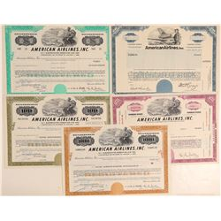 American Airlines set of Five Beautiful Stocks  #102242