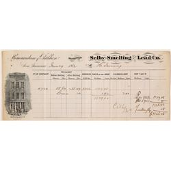 Selby Smelting & Lead Co. Assay Memorandum, 1882  #57674
