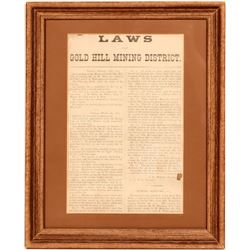 Laws of the Gold Hill Mining District Broadside, 1873  #110262