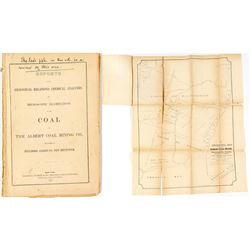 Albert Coal Mining Co. 1851 Report  (Pumpelly's Copy) with Map  #34839