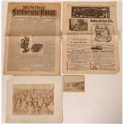 Mining group journal article, cabinet card, photo of armed miners  #103388