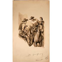 Cowboys on Horseback Meeting Up  #109847