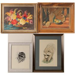 Framed Painting and Prints (4)  #106490