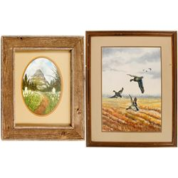 Scenic Watercolors of a Meadow and Ducks (2)  #56805