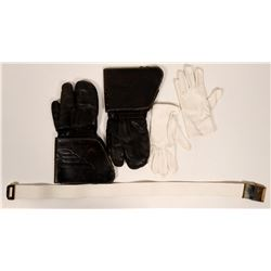 Insulated Leather Gloves/Mitten and White Gloves with Web Belt  #109782