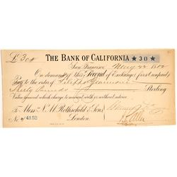 Second of Exchange Bank of California for NM Rothschild & Sons  #106497