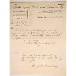 Alder Creek Lumber Company Letterhead  #88236