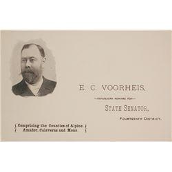 E.C. Voorheis, California State Senator & Mining Man, Pictorial Business Card, c.1890s  #59998