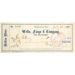 Rare Wells Fargo Check  #83304