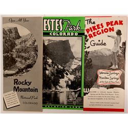 Three Advertising Pamphlets: Pikes Peak, Estes Park, Rocky Mountain National park  #104495