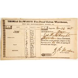 1838 Receipt for Thomas Dawson's Fire-Proof Cotton Warehouse  #60063