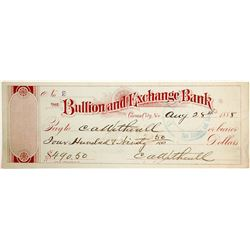 Bullion and Exchange Bank Check  #82578